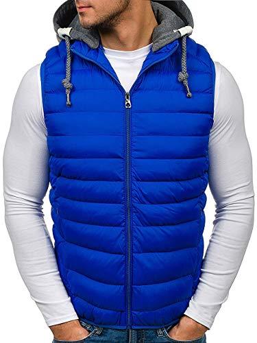 BOLF Herren Weste mit Kapuze Reißverschluss ideal für kühle Tage J.Style 3112 Blau M [4D4]