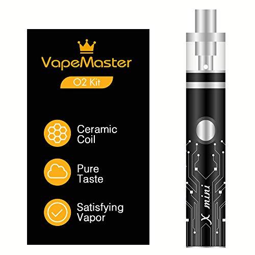 Sigaretta elettronica svapo kit completo di nuova generazione - VapeMaster O2 - Tecnologia bobina di ceramica, Serbatoio di vetro Pyrex, Batteria Potente, Vapore puro - No nicotina