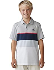 adidas Golf niños Climacool diseñado camiseta de rayas - TB1306S6, S, Stone/Shock Red