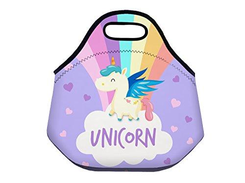 Fringoo® borsa termica pranzo per bambini, per scuola, viaggio, picnic, con cerniera, in neoprene isolante, resistente, in neoprene, unicorn hearts - lunch bag, regular