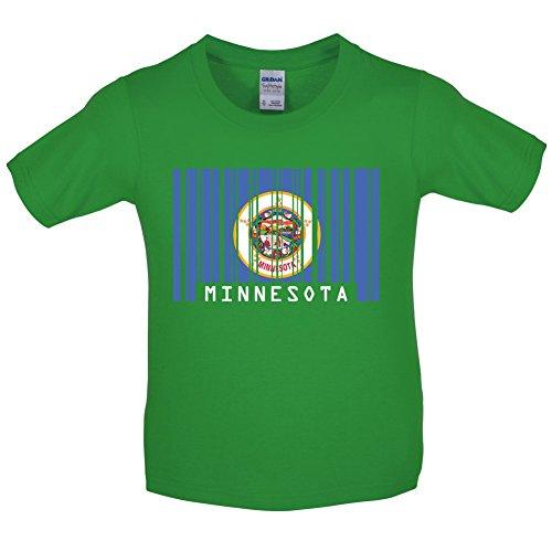 Minnesota Barcode Flagge - Kinder T-Shirt - Irisch Grün - L (9-11 Jahre) (Minnesota Vikings-kinder T-shirts)