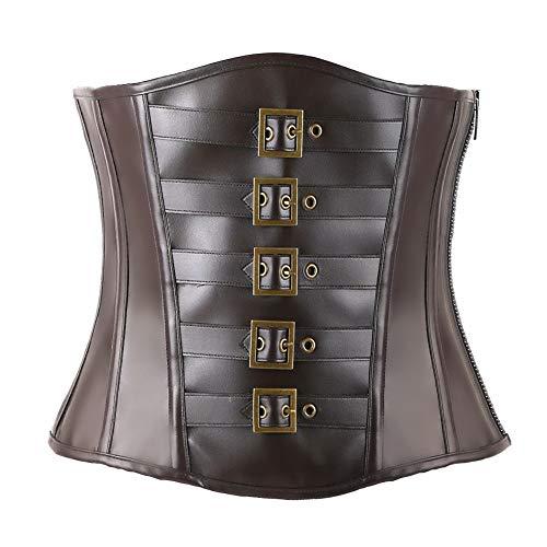 Ancocs Steampunk Corsage für Damen Korsett wie Underbust Taille Trainer Leder Design für den Einsatz Mode Vintage Cincher (Braun2, XXL)