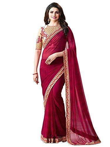 Shivalika Tex Women's Silk Cotton Saree With Blouse Piece (Vrprachi_Maroon, Free Size)