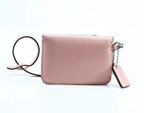 COACH Women's Polished Pebble Card Pouch Sv/Peony One Size