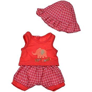 ihen-Tech Costume de poup/ée Set 3 pi/èces Belle /él/éphant imprim/é Tops Short /à Carreaux et Un Chapeau pour poup/ée American Girl 18 Pouces Rouge