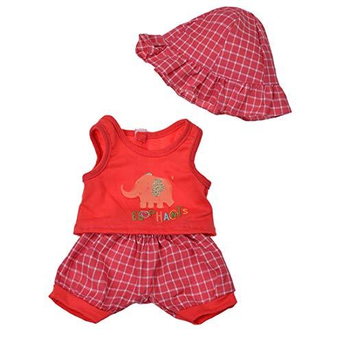 ihen-Tech 3-teiliges Set Puppenkostüm Lovely Elephant Printed Tops Plaid Shorts und Hut für American Girl Puppe 18 Zoll - Rot - Puppe Girl American Shorts Set