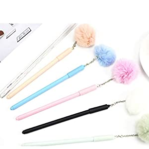 Unterschrift Stift Niedlich plüsch anhänger einfarbig haar ball gelschreiber voller nadel pen pen 0,5mm