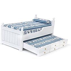 1/12Dollhouse Miniatura Muebles Dormitorio–Cama de madera dos capas