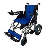 Silla de ruedas eléctrica, Plegable, Aluminio, Para minusválidos, Auton. 20 km, 24V, Azul y negra, Lyra, Mobiclinic