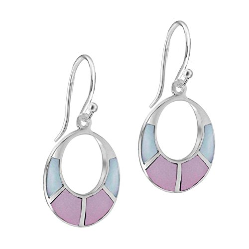 Tuscany Silver Sterling Silver Pink and Blue Mother of Pearl Cut Out Drop Earrings Ju5YyS