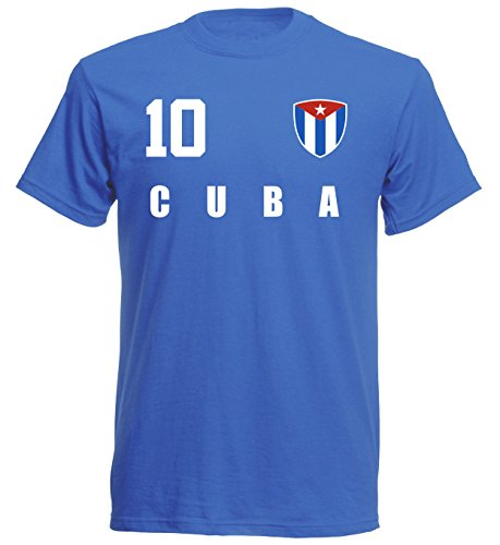 Kuba WM 2018 T-Shirt Trikot Style - Blau ALL-10 - S M L XL XXL (M)