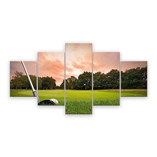 AMEMNY Grün Gras Golfplatz Bereich Wand Kunst Malerei Home Decor für Wohnzimmer Schlafzimmer Modern Querformat groß Bilder 5Panel 61gerahmt gedehnt fertig Zum Aufhängen 60''W x 32''H Artwork-01