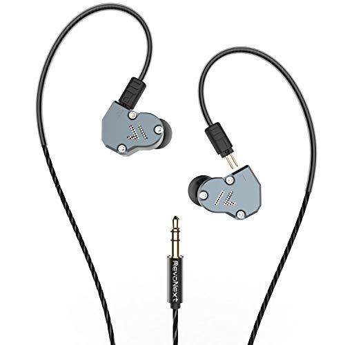 revonext Triple Driver in-Ear-HiFi Kopfhörer, Abnehmbare Wired Kopfhörer in-Ear HiFi-Stereo Headset mit dynamischen und Balanced Armature Hybrid (Ohne Mikrofon) Grau (Triple-balanced-armature -)
