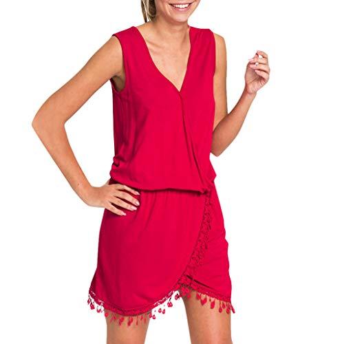 LUGOW Minikleid Damen Boho Neckholder Abendkleider Strandkleid Sommerkleider Günstig Cocktailkleider FreizeitKleider Blusenkleid T Shirt PartyBallkleid(Medium,Rot)