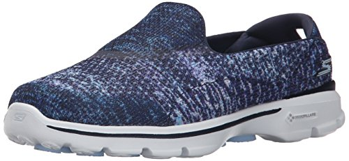 Skechers Women's Gowalk 3 Glisten Low-Top Sneakers, Navy/White, 4 UK 37 EU