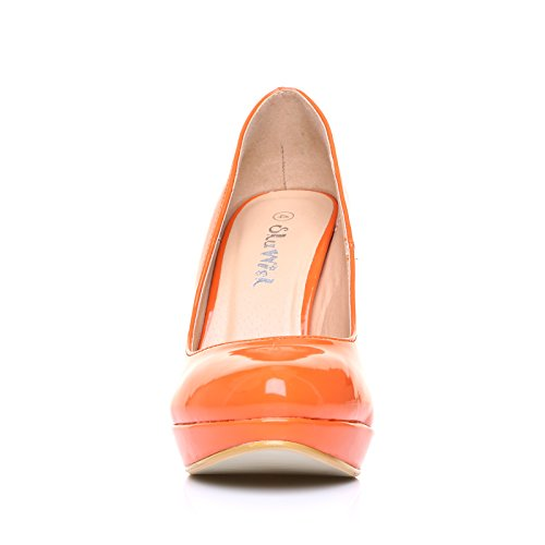 Eve Chaussures Femme Decolleté Faux Cuir Verni Orange Orange Talon Stiletto Plateau Orange Verni