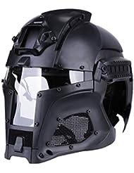 Casco Tattico Medievale Iron Warrior con Corona Regolabile Goggle Clip Retro Helmet per Uso Esterno, Nero/Verde