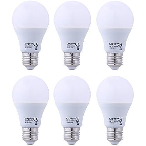Liqoo® 6x 8W E27 bombilla LED globo bombilla bombillas de ahorro de energía de la lámpara caliente blanca neutra AC220-240V blanco, 2835 SMD, (8W: 600LM, Sustituye 50W, 270 ° de ángulo de visión, Ø60 x 112mm)