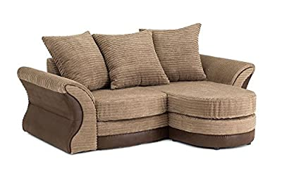 Merida Corner Sofa Lounger in Brown & Beige Chenille Fabric by Abakus Direct