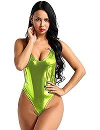 iiniim Body String Femme Cuir Vernie Sexy Jumpsuit Catsuit Dos Nu  Combinaison À Manches Longues Bodysuit Party Club Moulant Bodycon… 50c24c76da1