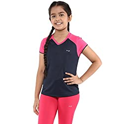 Berge Girls Instadry V Neck Tee (1303_NAVY_8)