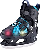 X-TECH LED Schlittschuh pink/lightblue/White Kinder verstellbar Skates rosa blau wei§ (Schwarz, 37-40)