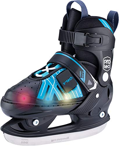 X-TECH LED Schlittschuh pink/lightblue/White Kinder verstellbar Skates rosa blau wei§ (Schwarz, 37-40)