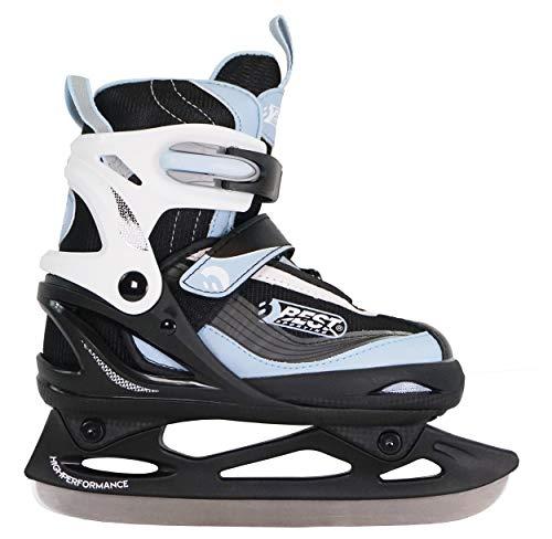 Best Sporting Schlittschuhe größenverstellbar, kältebeständig bis -20 Grad, wasserdicht und wärmeisolierend, schwarz/rot oder schwarz/blau, Farbe:schwarz/blau,...