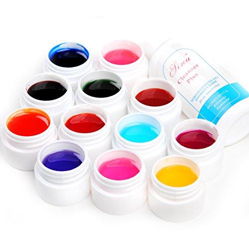 Mode Galerie Lot de 12 Couleurs Transparent UV Gel Constructeur Ongles d'Art Décor Avec Cleanser Plus