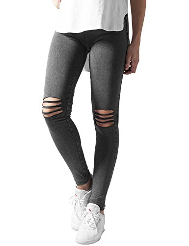 Urban Classics Ladies Cutted Knee, Leggings Donna, Schwarz (Acid Black 706), X-Small