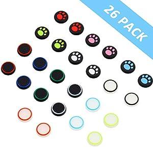 26 Stück Thumbstick Kappen Abdeckung Silikon Leuchtend Joystick Daumen Stick Kappen, Kompatibel mit PS4 PS3 PS2 Xbox 360 Xbox Ein Kontrolleur