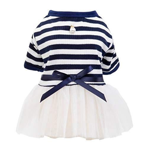 AMURAO Frühling Herbst Hund Tutu Kleid kleines Haustier Streifen Perlen Gaze Rock Baumwolle Prinzessin kurzen Ärmeln T-Shirt -