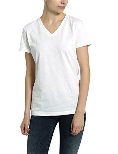 Berydale Damen-T-Shirt mit V-Ausschnitt, Weiß, M