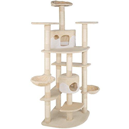 TecTake Katzen Kratzbaum mit XXL Liegemulde | 2 Katzenhäusern | deckenhoch - Diverse Farben - (beige-Weiss | Nr. 402108) -
