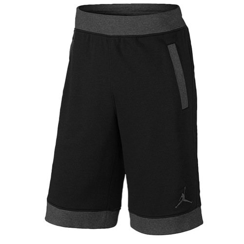 Jordan Mens Air Fleece Shorts Black/Grey Jordan Mens Fleece