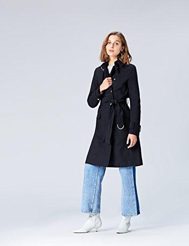 FIND Mantel Damen Trenchcoat Style mit asymmetrischem Cape und Gürtel Blau (Navy), 34 (Herstellergröße: X-Small) - 2