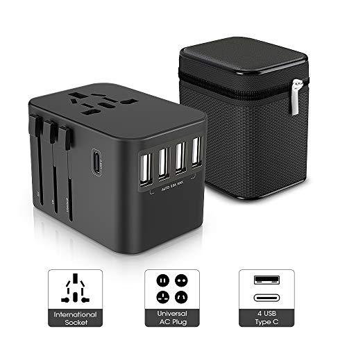 ZeaLife Reiseadapter Universal Reisestecker mit 4 USB Anschlüsse 1 Typ C und AC Buchse, International Ladegerät Netzadapter mit Tasche, Weltweit Travel Adapter für Europa UK Australien USA Usw -