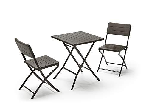 KitGarden - Conjunto Muebles Terraza/Jardín Plegable Imitación Madera, 1 Mesa + 2 Sillas, Marrón, Wood Balcón