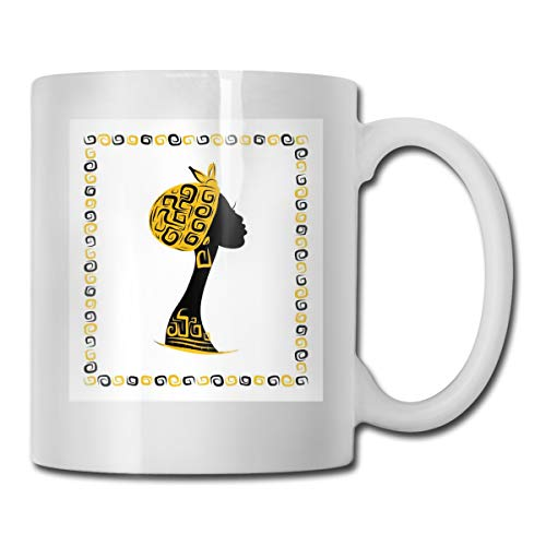 Jolly2T Funny Ceramic Novelty Coffee Mug 11oz,Female Head Portrait In Ethnic Tribal Frame with Ornament Lines Design,Unisex Who Tea Mugs Coffee Cups,Suitable for Office and Home