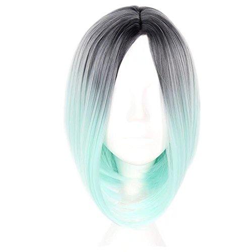 COSPLAZA kurz Omber Farbe Gerade Bob Synthetic Frauen Perücke Schwarz zu hellgrün