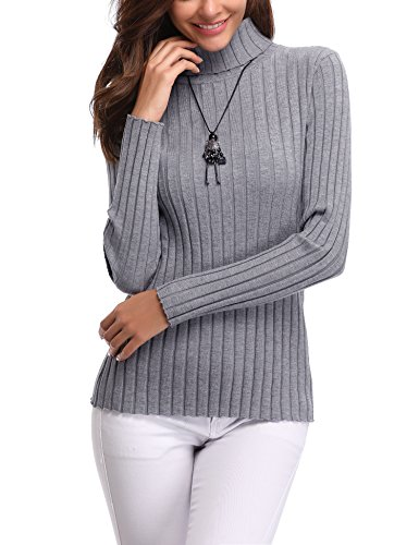 d1ef066a1af Abollria Womens Turtle Neck Long Sleeve Chunky Knit Ribbed Sweater Jumper  Knitwear Top Grey