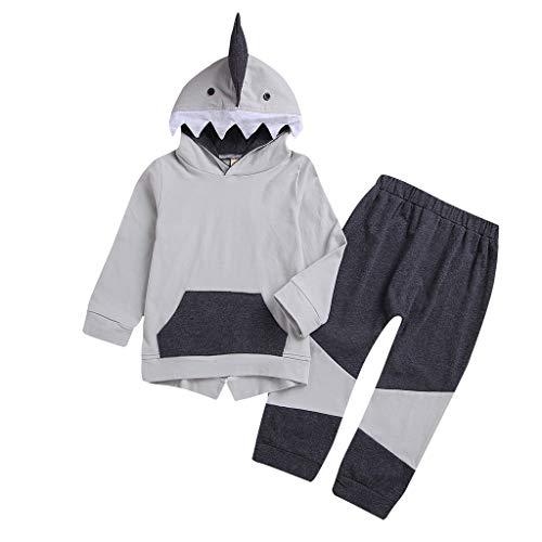 ZHANSANFM Kinder Baby Kleidung 2 Stück Set Cartoon Hai Hoodie Tops Shirt + Hosen Outfits Kinderbekleidung Warm Kapuzenpullover Halloween Weihnachten Hochzeitsfest Kostüm 6-12Monate Grau -