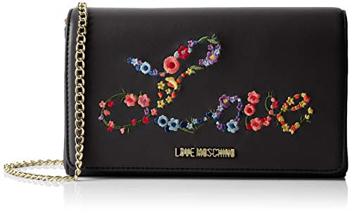 d8014694f6 Love Moschino Borsa Nappa Pu Sac à bandoulière Femme, Noir (Nero) 6x12x22  centimeters