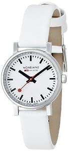 Reloj Mondaine Evo A658.30301.11SBN de cuarzo para mujer, correa de cuero color blanco de Mondaine