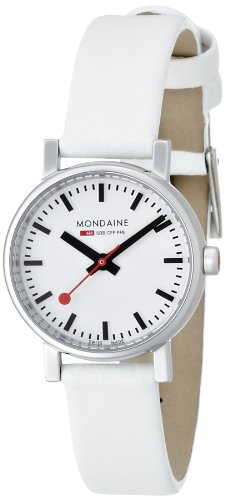 Mondaine Evo 26mm Women's Quartz Watch with White Dial Analogue Display and White Leather Strap A6583030111SBN