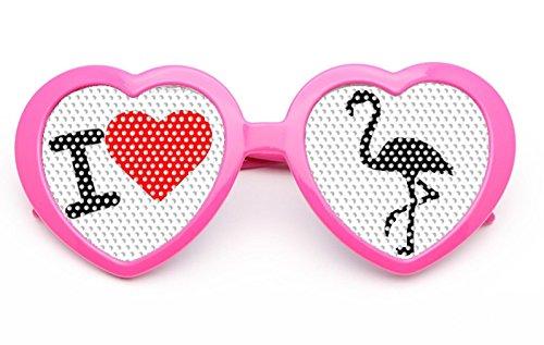 seven9 Pinke Flamingobrille mit I Love Flamingo und Herzform für Jede Party, den Ballermann und jedes Festival (Kunststoff Flamingo Kostüm)