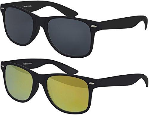00 CAT 3 CE Vintage Unisex Retro Wayfarer Sonnenbrille - verschiedene Farben in Einzel - Doppelpack & Dreierpack wählbar (Doppelpack - Rahmen: Schwarz matt, Gläser: 1 x Schwarz, 1 x Gelb verspiegelt) (Blues Brothers Sonnenbrille)