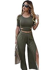 Baymate Mujeres Casual Conjuntos Hollow Out Camiseta Tops + Amplio la pierna Pantalones Cintura Alta