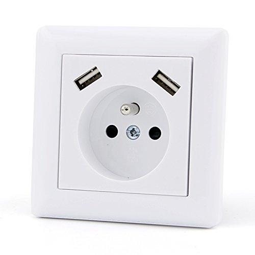 Enchufe de pared USB, cargador doble precableado, 2,8A, conforme a las normas...