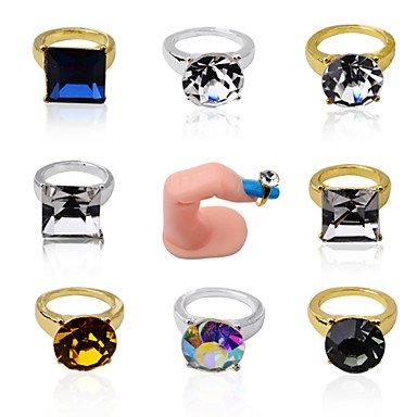 Wzw 5 pcs Doré Argent Nail Art Anneaux ronds Cœur carrés en alliage de strass clair AB Charm à ongles Décorations, 3#